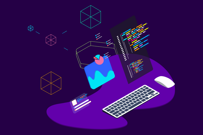 Concept of web development and analysis Illustration