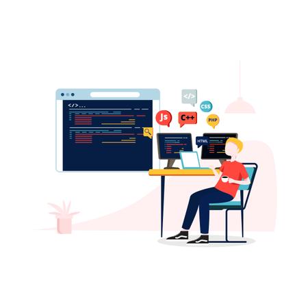 Concept of website development and programming language Illustration