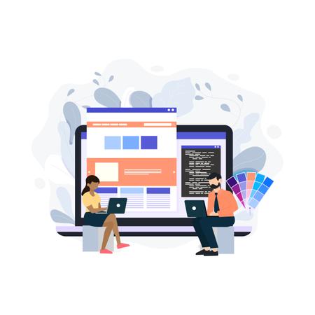 Concept of website ui design Illustration