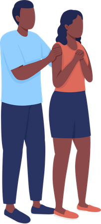 Concerned young couple Illustration