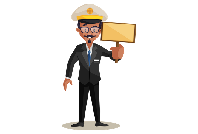 Conductor Holding Blank Board Illustration