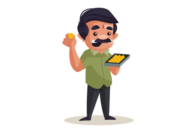 Confectioner holding Laddu sweet tray in hand Illustration