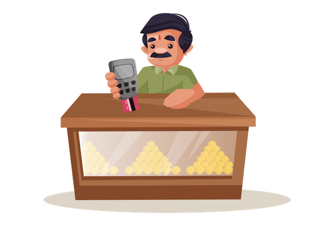 Confectioner holding swipe machine and card in hand for payments Illustration