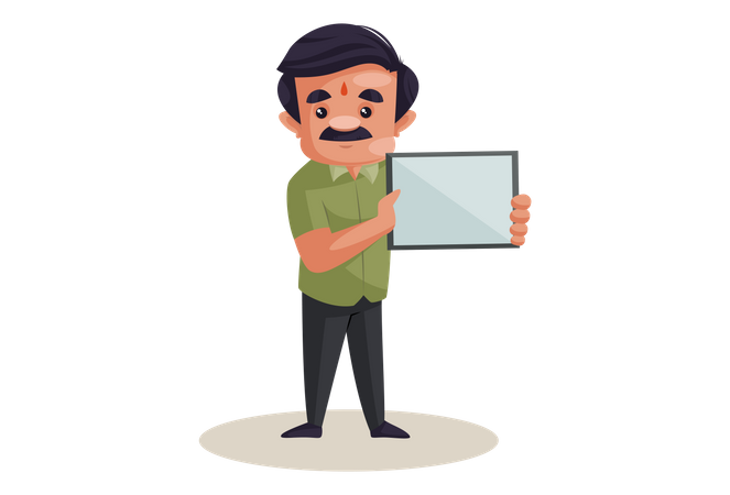 Confectioner is holding empty board in hand Illustration
