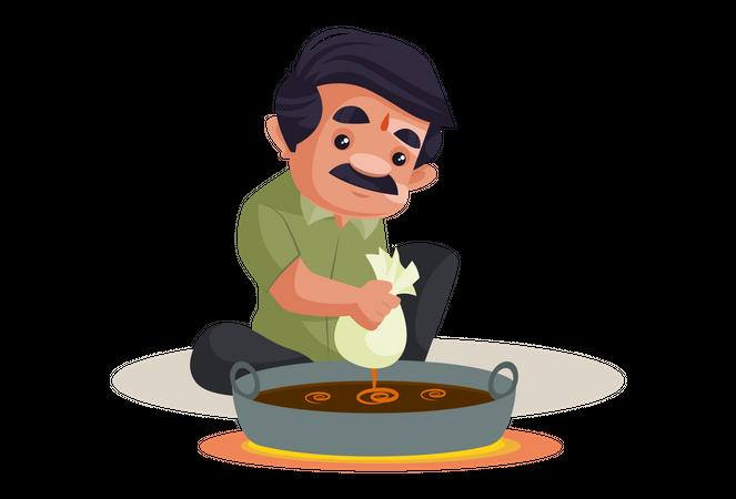 Confectioner is making sweet jalebi in a big pot Illustration