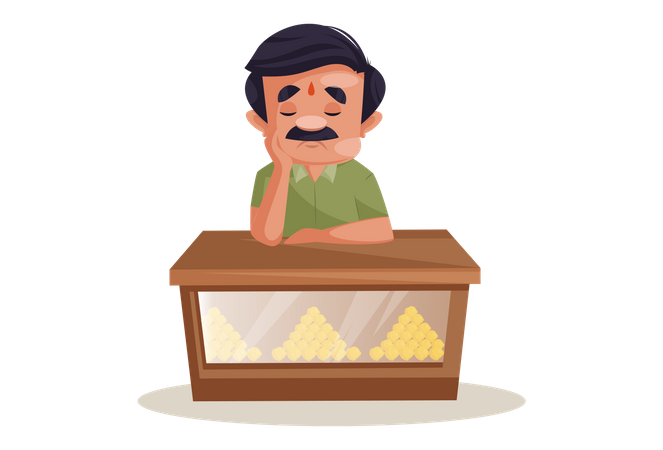 Confectioner is sitting sad because of no business Illustration