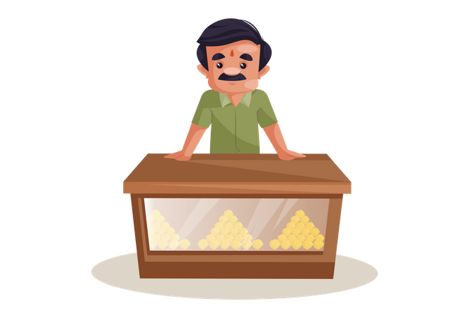 Confectioner is standing on counter stall Illustration