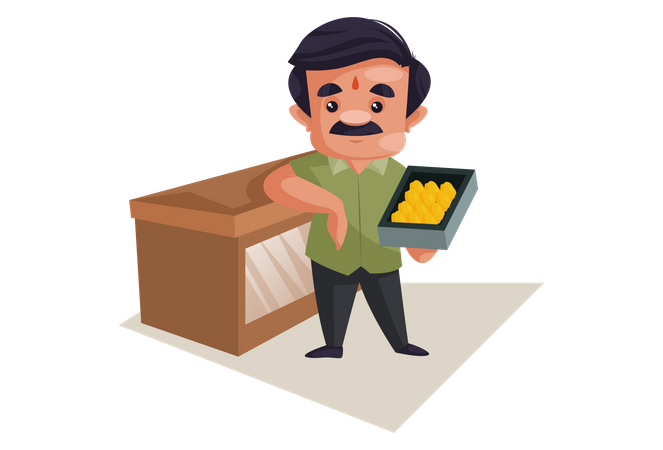 Confectioner is standing with sweets tray in hand Illustration