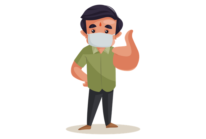 Confectioner wearing mask and showing thumbs up Illustration