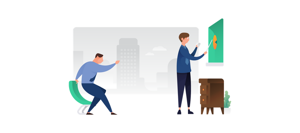Conference In Office Illustration