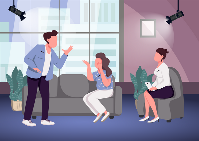 Conflict at talk show Illustration
