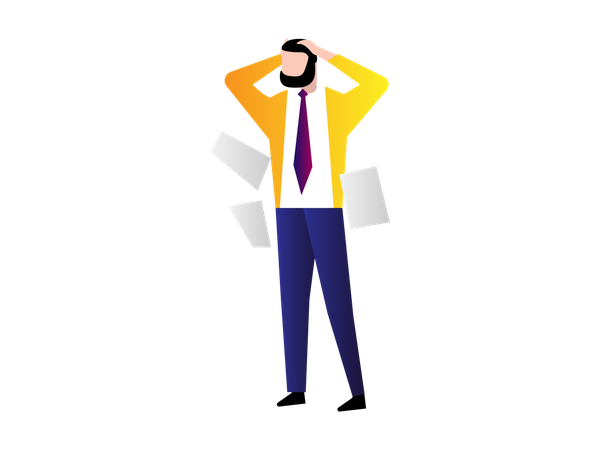 Confused Businessman with falling Paper around Illustration