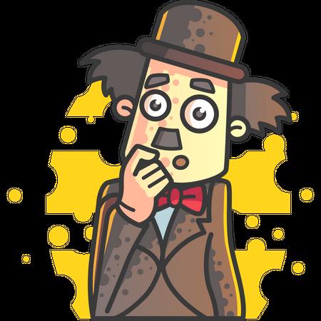 Confused Charlie Chaplin Illustration