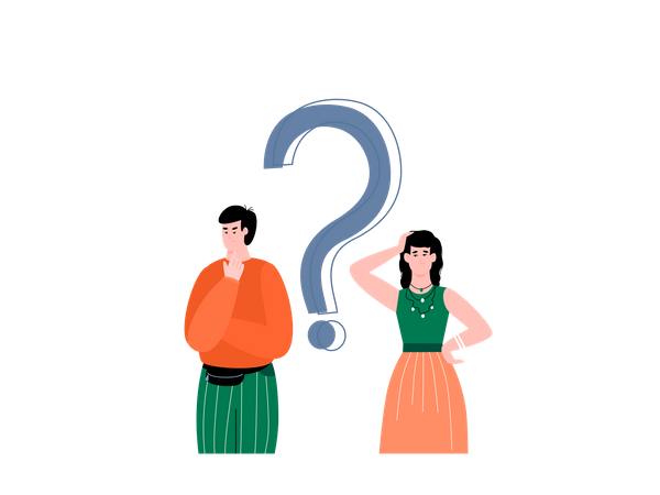 Confused male and female customer Illustration