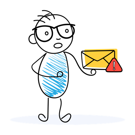 Confused man looking at spam mail Illustration