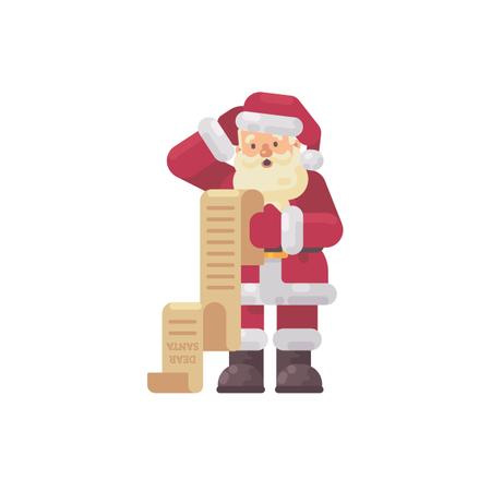 Confused Santa Claus Reading A Kids Letter Illustration