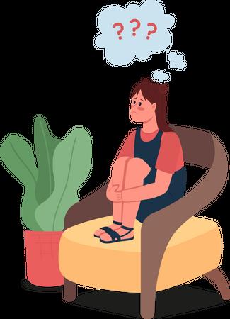 Confused teenage girl Illustration