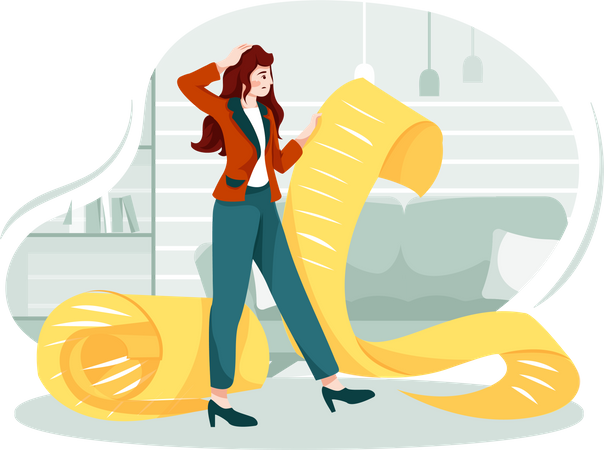 Confused woman holding a long to-do list Illustration