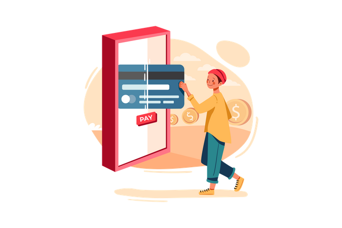 Connect Banking Card for online payment Illustration