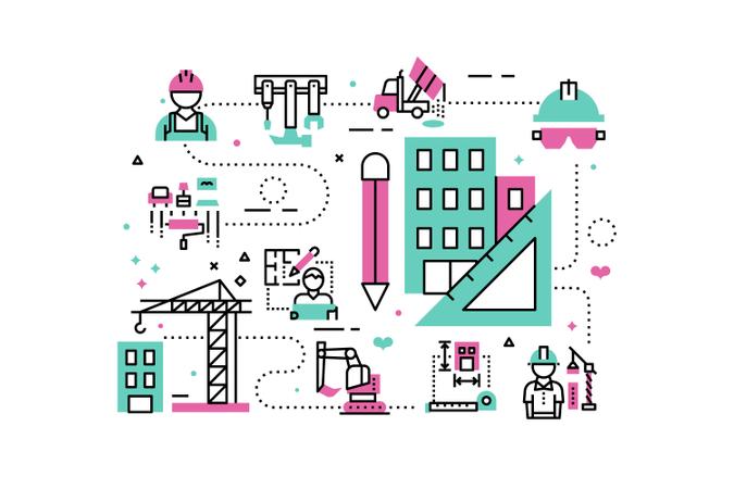 Construction project line icons illustration Illustration