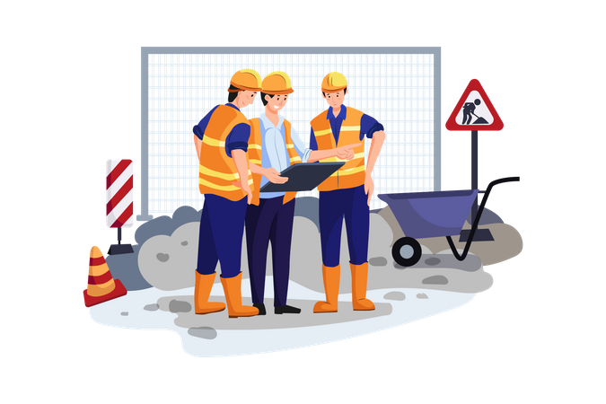 Construction site engineer doing routine standup Illustration