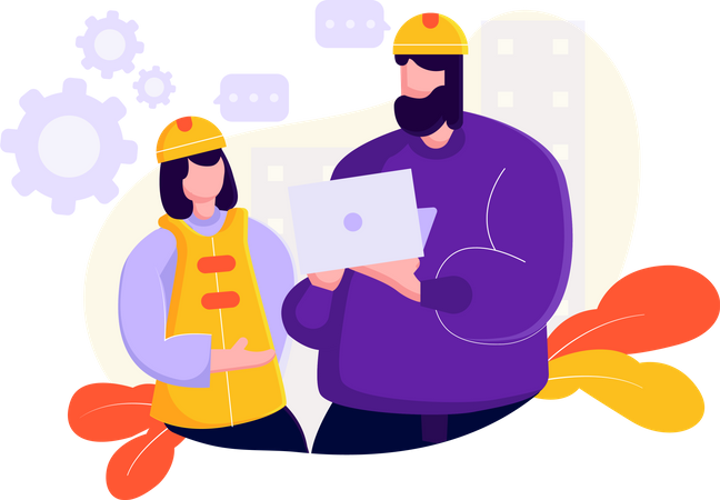 Construction site manager showing details to worker Illustration