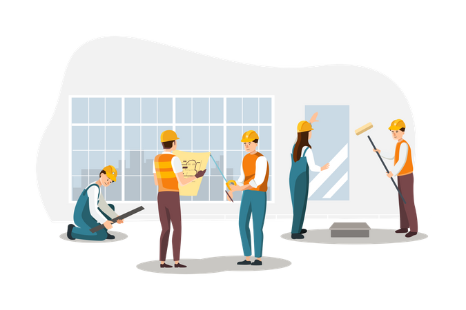 Construction team working on new project Illustration