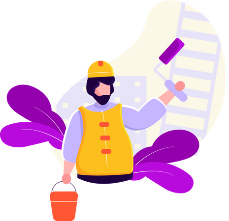 Construction Worker painting wall Illustration