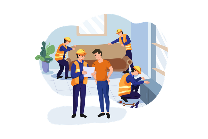 Construction workers arranging interior Illustration