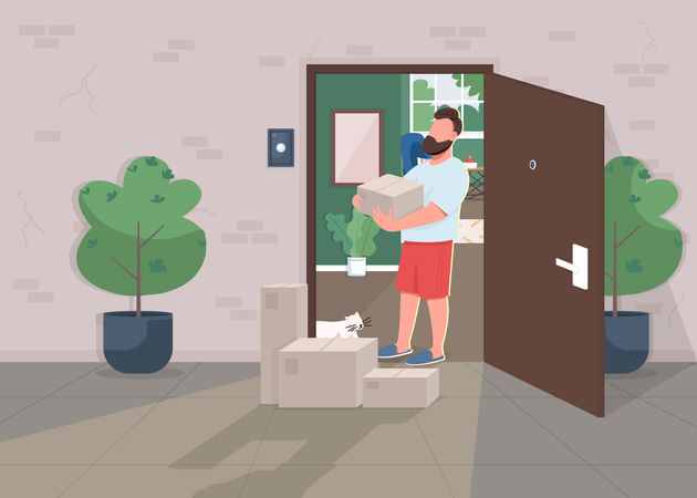 Contactless delivery during lockdown Illustration