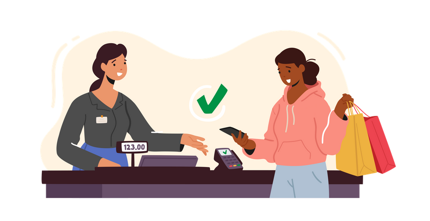 Contactless Payment with Credit Card Reader Machine Illustration