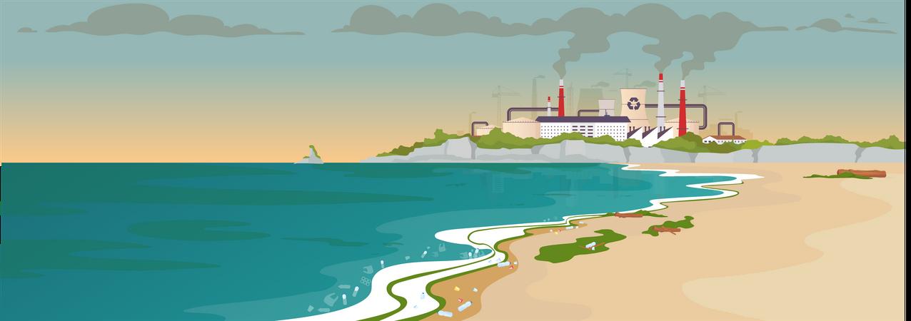 Contaminated sandy beach Illustration