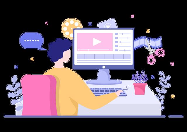 Content Creator doing video editing Illustration