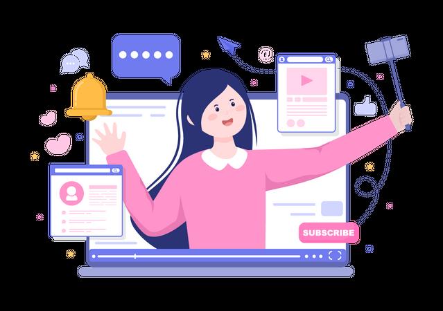 Content Creator recording video Illustration