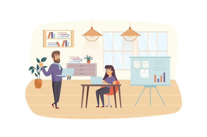 Content managers working at office Illustration