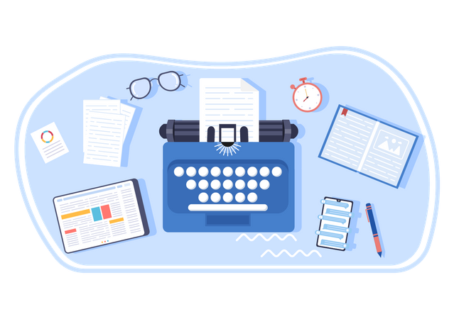 Content Writing workspace Illustration