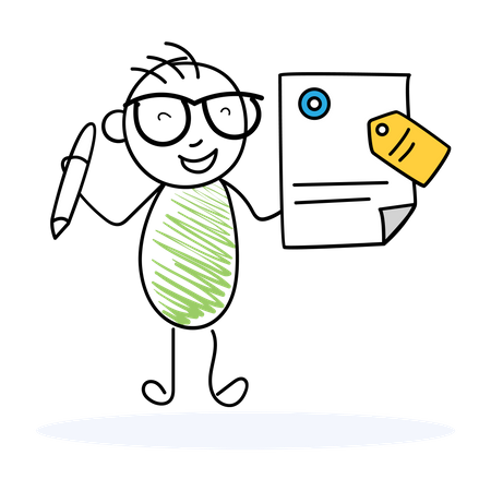 Contract Sign and label Illustration