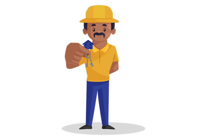 Contractor holding house keys Illustration