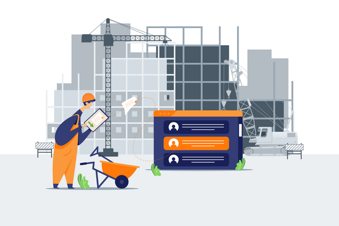 Contractor setting customer details in construction site Illustration