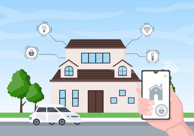 Control home appliances remotely through internet Illustration