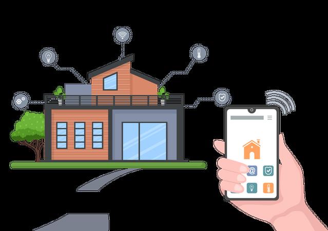 Control house temperature through smartphone application Illustration