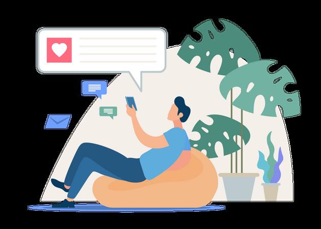 Conversation in Social Network, Online Dating Illustration