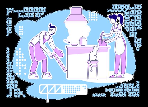 Cook together Illustration