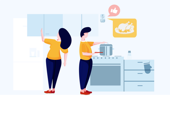 Cooking guide from speaker in home automation concept Illustration