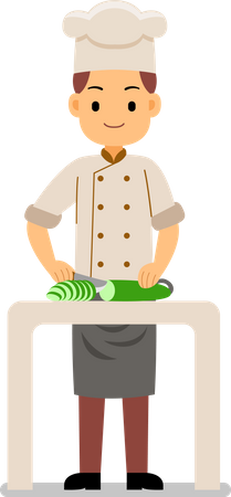 Cooking process - chef chopping vegetables on the table for cooking Illustration