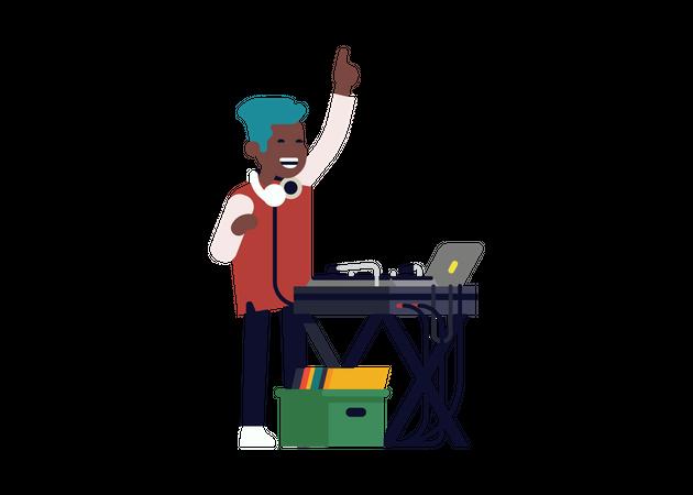Cool DJ Playing Music Illustration