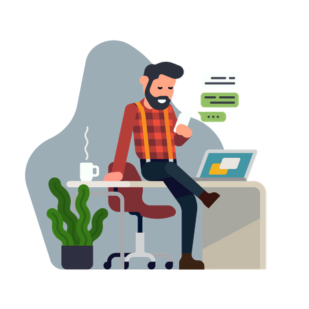 Cool flat style detailed illustration on self employment depicting confident male business owner managing his tasks with ease. Hassle free business concept design. Man having coffee break Illustration