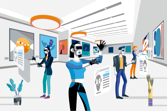 Cool people looking modern abstract paintings in art exhibition wearing augmented reality technology devices Illustration