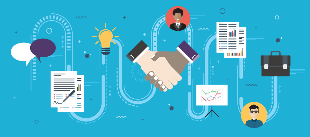 Cooperation strategy and handshake in contract agreement signature Illustration