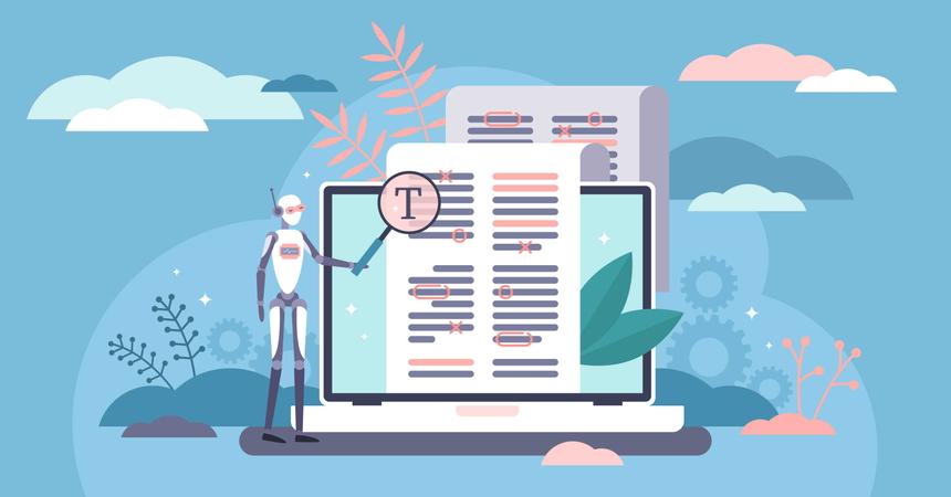 Copy writing automation technology Illustration